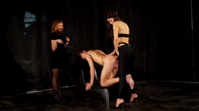 Ashtray foot slave strapon fucked by two mistress