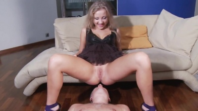 Drunk Russian mistress pissing & humiliating slave