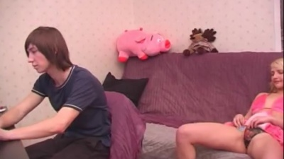 Real amateur young russian couple copluating at home