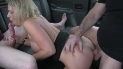 Sasha Steele gets tag teamed by two dudes in the back of the cab
