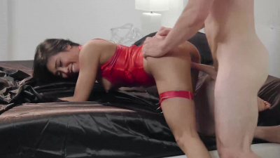 Ember Snow get deep and hard fucked on black satin sheets