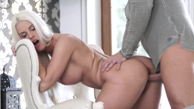 Blanche Bradburry slides her man's cock up her pussy & gets jized