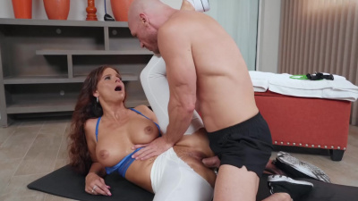 Syren De Mer get titfucked & pussy pound through ripped yoga pants
