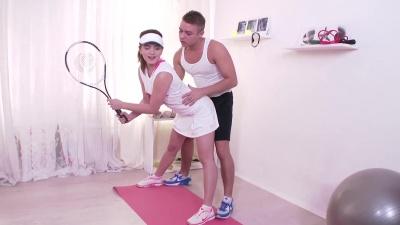 Tennis teen Evelina Darling sucking and fucking her tennis instructor