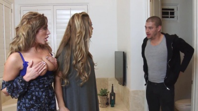 Nicole Aniston & her gf eat pussy and get fucked by her bf's son