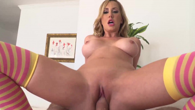 Sex doll Brett Rossi slides her tight and hungry pussy onto huge shaft