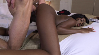 Ebony princess Kandi Monaee spreads her long, silky legs for deep penetration
