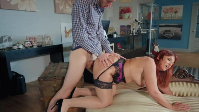 Redhead Milf Beau Diamonds seduces a married man and has sex with him