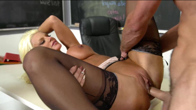 Busty professor Brittany Andrews fucks her student during class