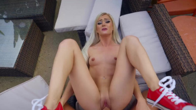 Skinny blonde Morgan Rain sliding up and down on hard cock POV