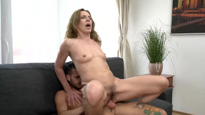 Granny Viol with hairy pussy gets a young cock