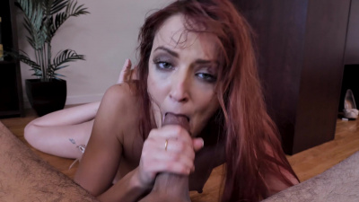 Gorgeous ginger milf Andi Rye loves coating dick in spit and taking it all the way down to the balls