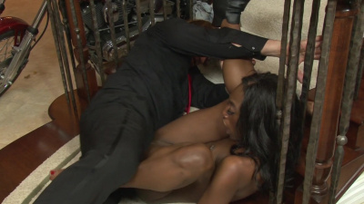 Tall and slim black babe Monica Rae pounces on her stepdaddy's white cock
