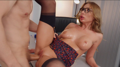 Curvy blonde Marilyn Crystal receives an ass creampie on her own desk
