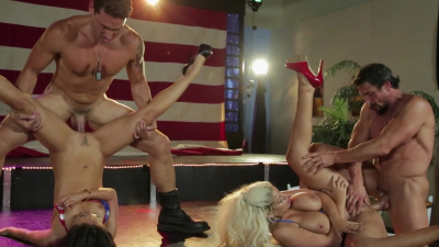 Asa Akira and Bridgette B. all american group sex