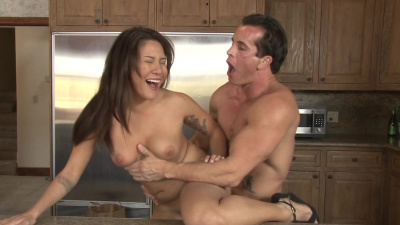 Exotic girl Mena Mason has some wild sex on the kitchen counter