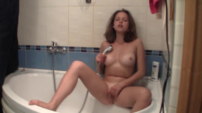 Mary C slides her fingers inside her bare pink pussy