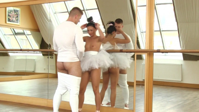 Ballet dancer Adela practices dance moves and sex skills in a room full of mirrors