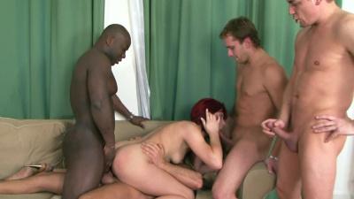 Kinky redhead Lucie Bell satisfies four men