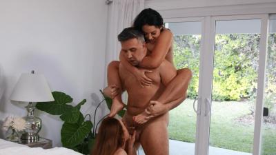 Curvy wife Siri teams up with mistress Angela White to please husband