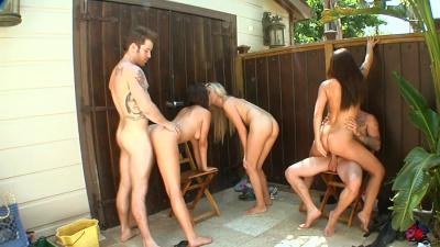 Britanny Sexton, Callie Cobra and Missi Daniels milking farm