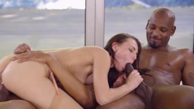 Beautiful Aidra Fox riding and sucking two black cocks