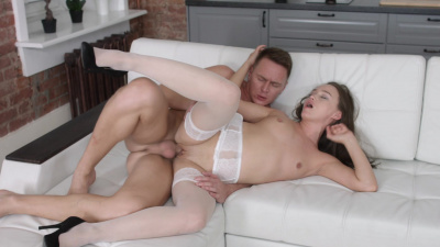 Dark-haired beauty Sally Brown  cleaning bf's pecker from the salty sperm