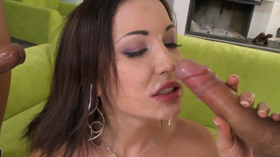 Rafaella takes double penetration with two guys who are very well hung