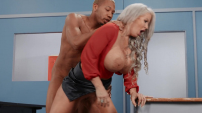 Busty professor Alura Jenson using her student for sex