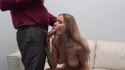 Tall blonde Polina Max plowed on the desk