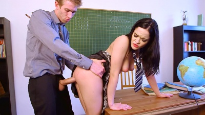 Exchange student Dolly Diore is fucked hard in the classroom by her professor