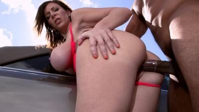 Sara Jay gets wet & takes a black cock balls deep outdoors