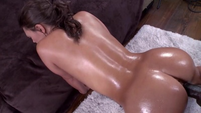 Lubed Olivia Wilder is stretched out by a big black dick