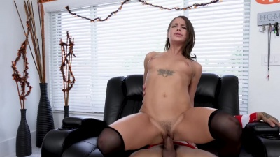 Evelyn Stone gets a cumshot in her mouth after the Halloween fuck