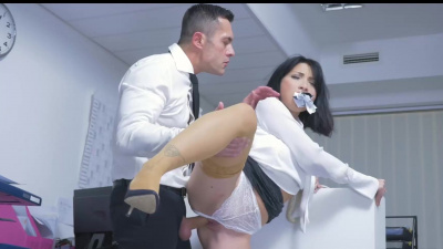 Submissive secretary Rina Ellis gets a roughly fucked and swallows cum at work